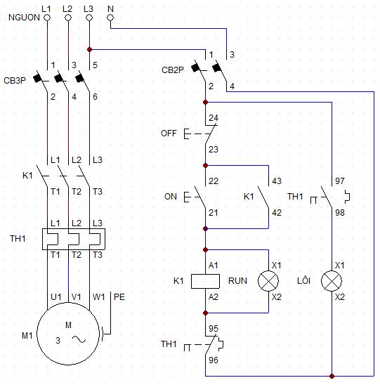 sơ đồ đấu dây rơ le nhiệt 3 pha