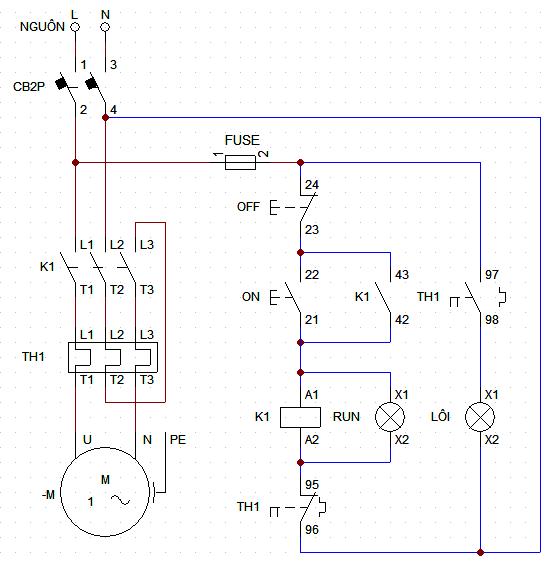Sơ đồ đấu dây relay nhiệt 1 pha