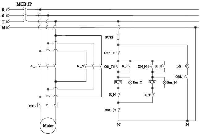 sơ đồ khởi động từ kép đảo chiều động cơ 3 pha