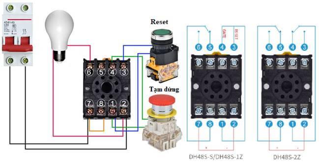 sơ đồ đấu dây timer điều khiển đèn