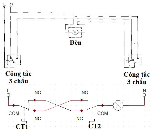 sơ đồ lắp đặt mạch đèn cầu thang